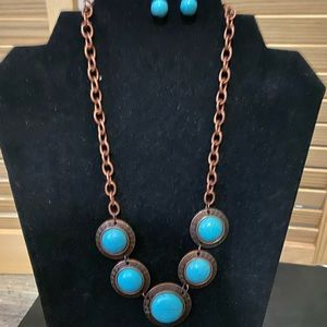 Turquoise set earring and necklace